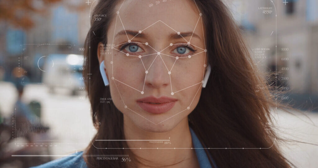 Future. Face Detection. Technological 3d Scanning. Biometric Facial Recognition. Face Id. Technological Scanning Of The Face Of Beautiful Caucasian Woman In The City For Facial Recognition. Shoted By Arri Alexa Mini.